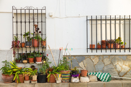 flower pots: Whitewashed facade with many flower pots, Andalusian scene Stock Photo