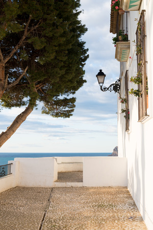 whitewashed: Whitewashed houses overlooking the Mediterranean in Altea old town