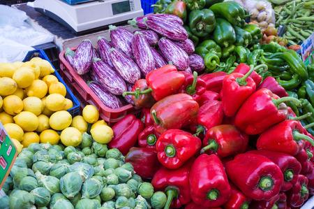 market stall: Fresh vegetables on a street market stall