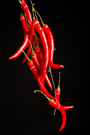 bundle: Bundle of hot chili peppers on a black