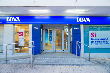 MADRID, SPAIN - FEBRUARY 24, 2015: A BBVA branch. BBVA is a major player in  Europes banking business and one of the banks that required no bailout during the financial crisis