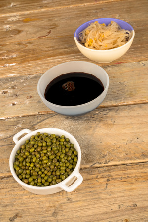 asian cuisine: Soy beans, sprouts and sauce, Asian cuisine ingredients Stock Photo