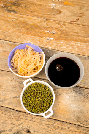 soy sprouts: Soy beans, sprouts and sauce, Asian cuisine ingredients Stock Photo