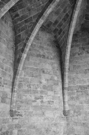ribbed: Black and white detail take of a ribbed vault