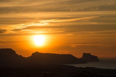 costa blanca: Sunrise over Altea Bay, Costa Blanca, Spain Stock Photo