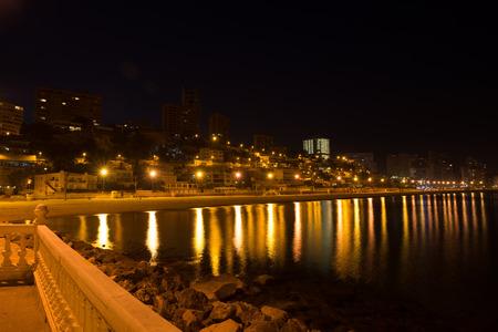 Benidorm beach and skyline at night photo
