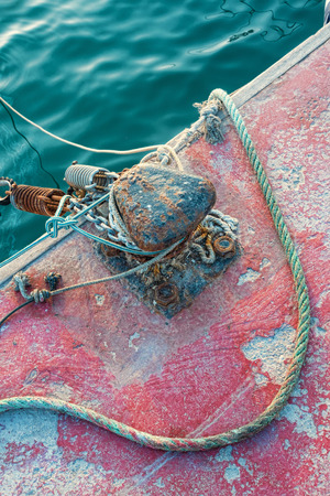 fishing industries: Bollard and rope on a commercial fishing pier Stock Photo