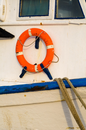 fishing industries: Life belt on board of an industrial trawler