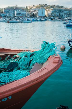 blanca: Fishing boat prow at Altea harbor, Costa Blanca Stock Photo