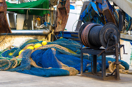 fishing industries: Detail take of fishing boats and equipment Stock Photo