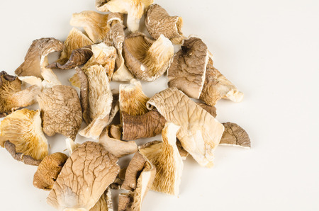 gilled: Dehydrated and chopped oyster mushorooms, Asian cuisine ingredient Stock Photo