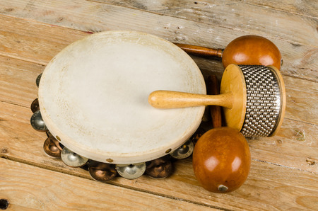 the instrument: Assortment of several small percussion instruments Stock Photo