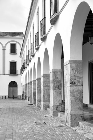 whitewashed: Whitewashed arcade on Berja main square, Almeria, Andalusia