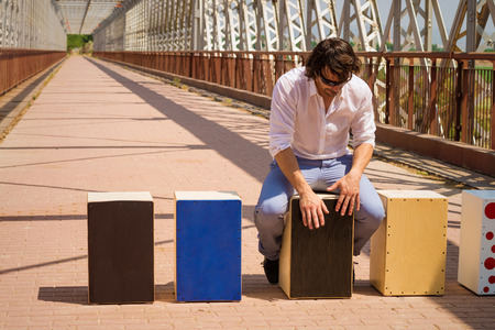 percussionist: Flamenco musician with an assortment of cajon instruments Stock Photo