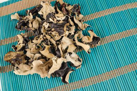 jews: Dehydrated jews ear mushrooms on a bamboo mat Stock Photo