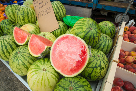market stall: Fresh watermelons on display at a street market stall