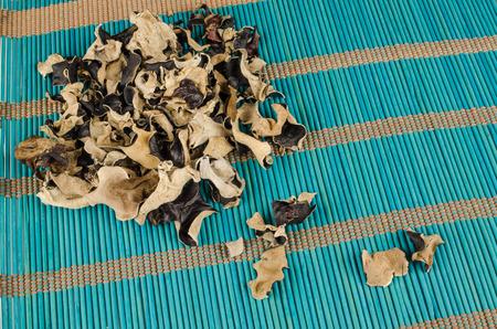 Dehydrated jews ear mushrooms on a bamboo mat Stock Photo