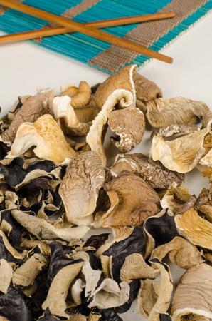 jews: Assortment of dehydrated fungi, oyster and jews ear mushrooms