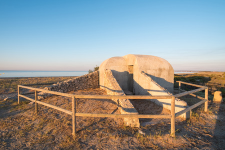 spanish civil war: Bunkers from the Spanish Civil War on a Mediterranean beach