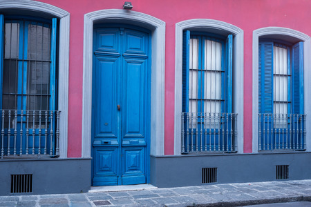 vieja: Colorful facade in Montevieo Old Town or Ciudad Vieja Stock Photo