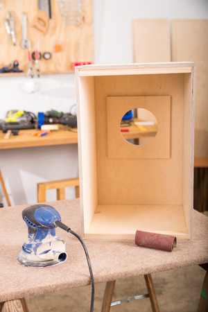 percussion instrument: Workshop with a half finished cajon flamenco percussion instrument