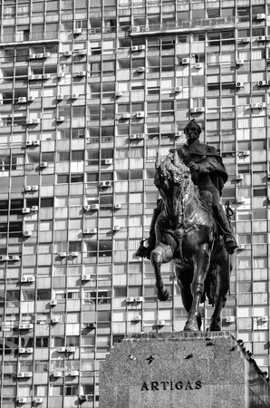 artigas: Montevideo downtown scene with the statue of national hero Artigas against the background of high rise buildings Stock Photo