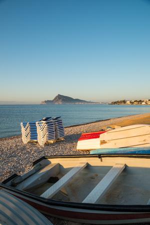 altea: Fishing boats ashore  Altea Bay on a sunny morning, Costa Blanca, Spain Stock Photo
