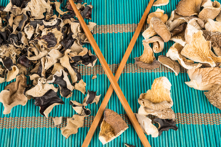 gilled: Assortment of dehydrated fungi, oyster and jews ear mushrooms