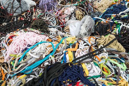 shoe laces: Large assortment of shoe laces on a street market stall