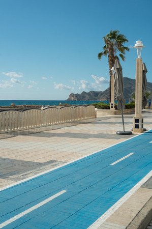 bicycle lane: Scenic bicycle lane at a Mediterranean beach resort