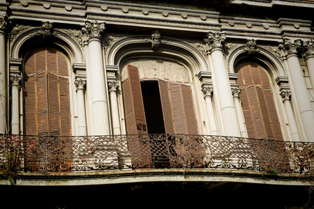 montevideo: Charming balconies in Montevideo old town, Uruguay
