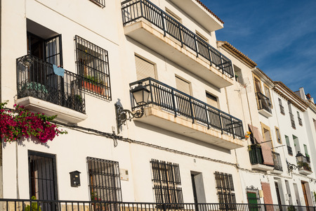 whitewashed: Whitewashed facades under the sun in Altea, Costa Blanca, Spain Stock Photo