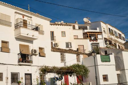 altea: Whitewashed facades under the sun in Altea, Costa Blanca, Spain Stock Photo