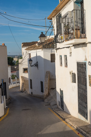 whitewashed: Narrow whitewashed street in the old town of Altea, Costa Blanca, Spain