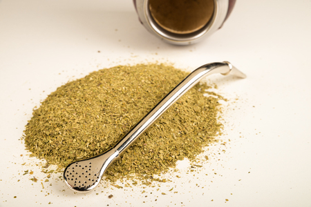 mate infusion: Gourd, steel drinking straw with filter and mate herb