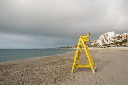 blanca: Lifeguard seat on La Vila beach, Costa  Blanca,  Spain