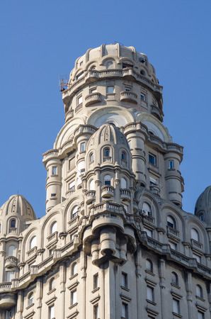 montevideo: Detail take of Palacio Salvo tower in downtown Montevideo Editorial