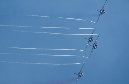 SAN JAVIER, SPAIN, OCTOBER18, 2015: Patrouille de France acrobatic squad taking place in the celebration of Spanish Patrulla Aguila squad 30th anniversary