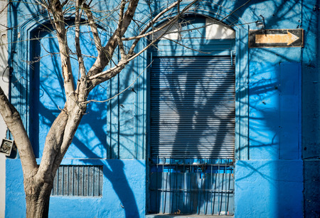 aguada: Montevideo Old Town facade in vibrant blue