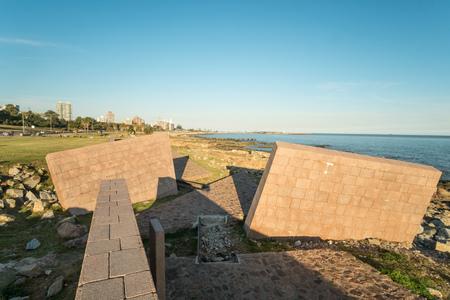 holocaust: MONTEVIDEO, URUGUAY - JULY 22, 2015: Holocaust memorial on the shore of Rio de la Plata