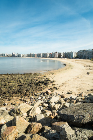 montevideo: Montevideo beach and skyline on a sunny day