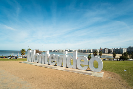 MONTEVIDEO, URUGUAY - JULY 26, 2015: Montevideo written in giant letters at the eastern city access 新聞圖片