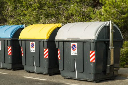 Containers in different colors to collect recyclable waste