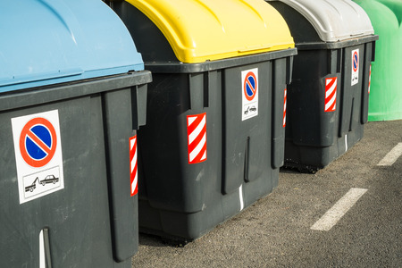 recycling: Containers in different colors to collect recyclable waste