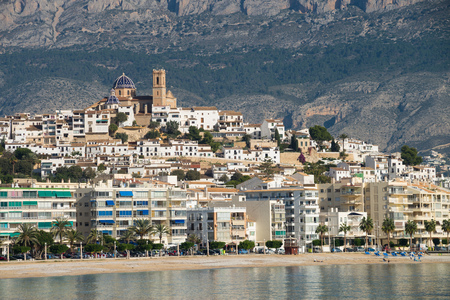 altea: Altea old town against  its mountain background, Costa Blanca, Spain Stock Photo