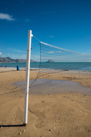 albir: Beach volley net on a sunny Costa Blanca resort beach, Spain