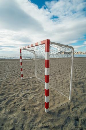 costa blanca: Beach soccer equipment on Benidorm resort beach, Costa Blanca, Spain