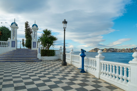 bannister: Benidorm bay and skyline as seen from its landmark viewpoint Stock Photo