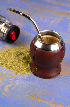 mate infusion: Getting ready to prepare a traditional mate brew Stock Photo