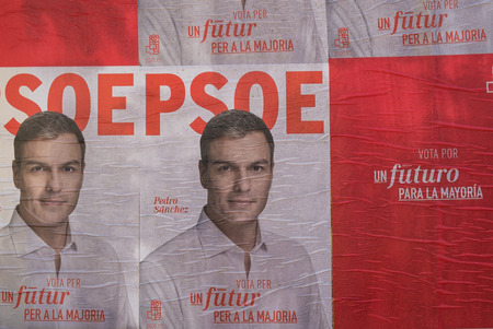 kickoff: MADRID, SPAIN-DECEMBER 4, 2015: Political campaign posters depicting oposition leader Pedro Sanchez on the kickoff to the 2015 elections.